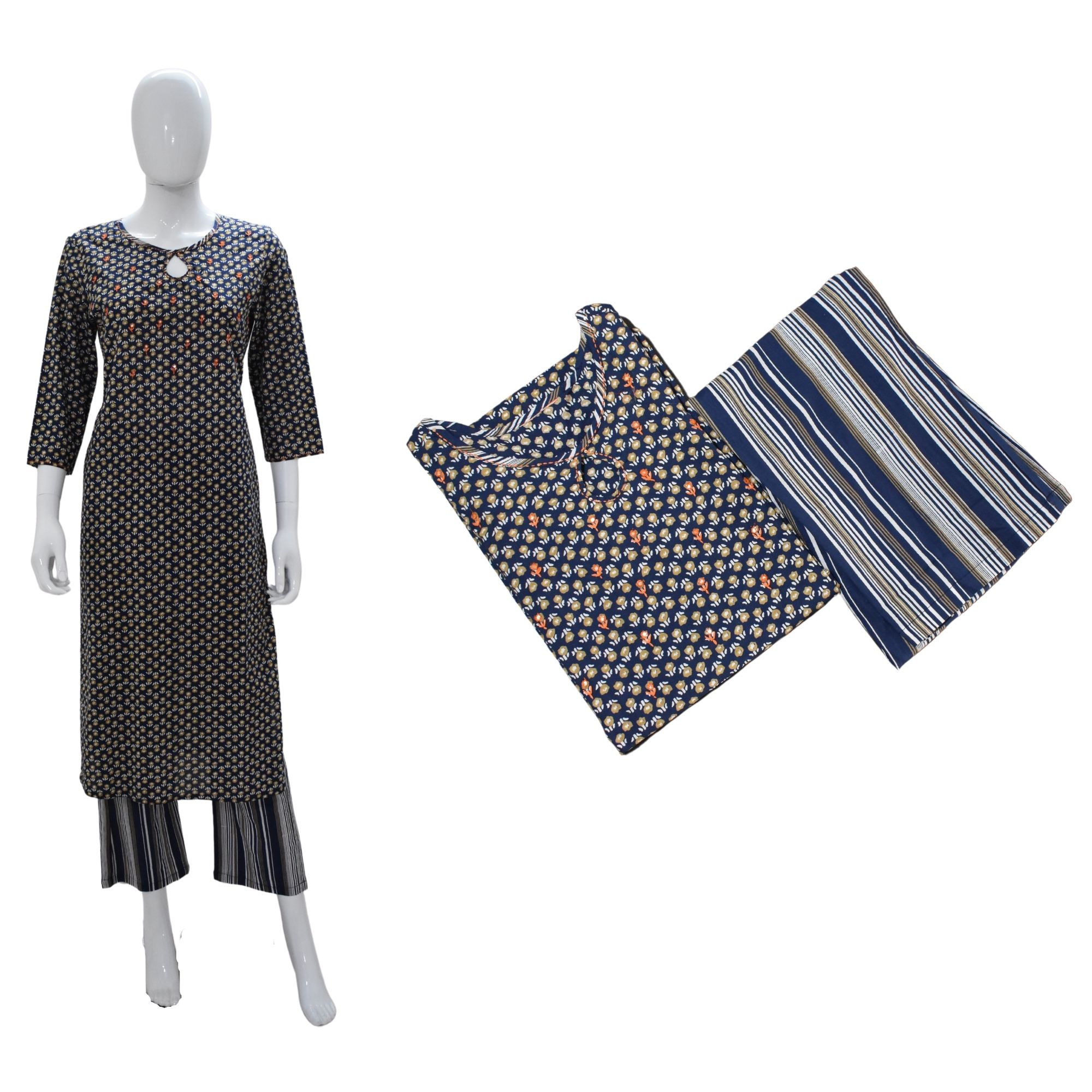FLORAL STRIPED KURTA LOWER SET- NAVY BLUE