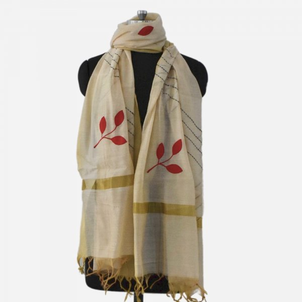APPLIQUE WORK DUPATTAS- CREAM RED