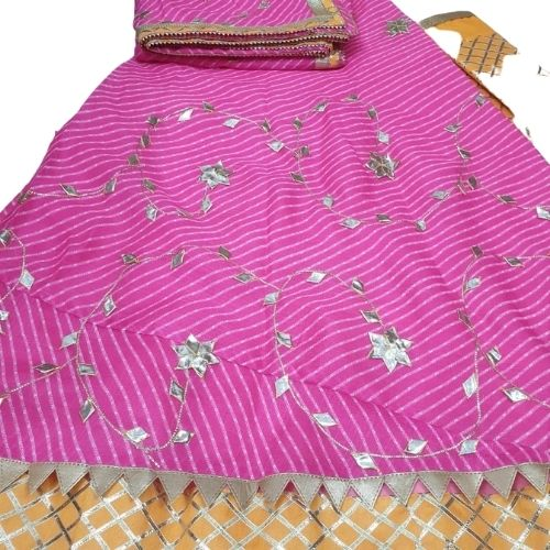 KOTA DORIYA LEHENGAS WITH WORK -PINK YELLOW