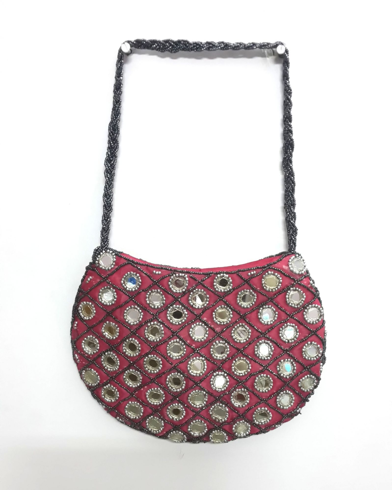 Moon shaped mirror bags with bead slings - Pink