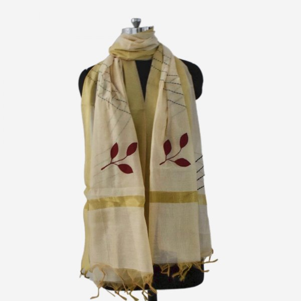 APPLIQUE WORK DUPATTAS- CREAM MARRON
