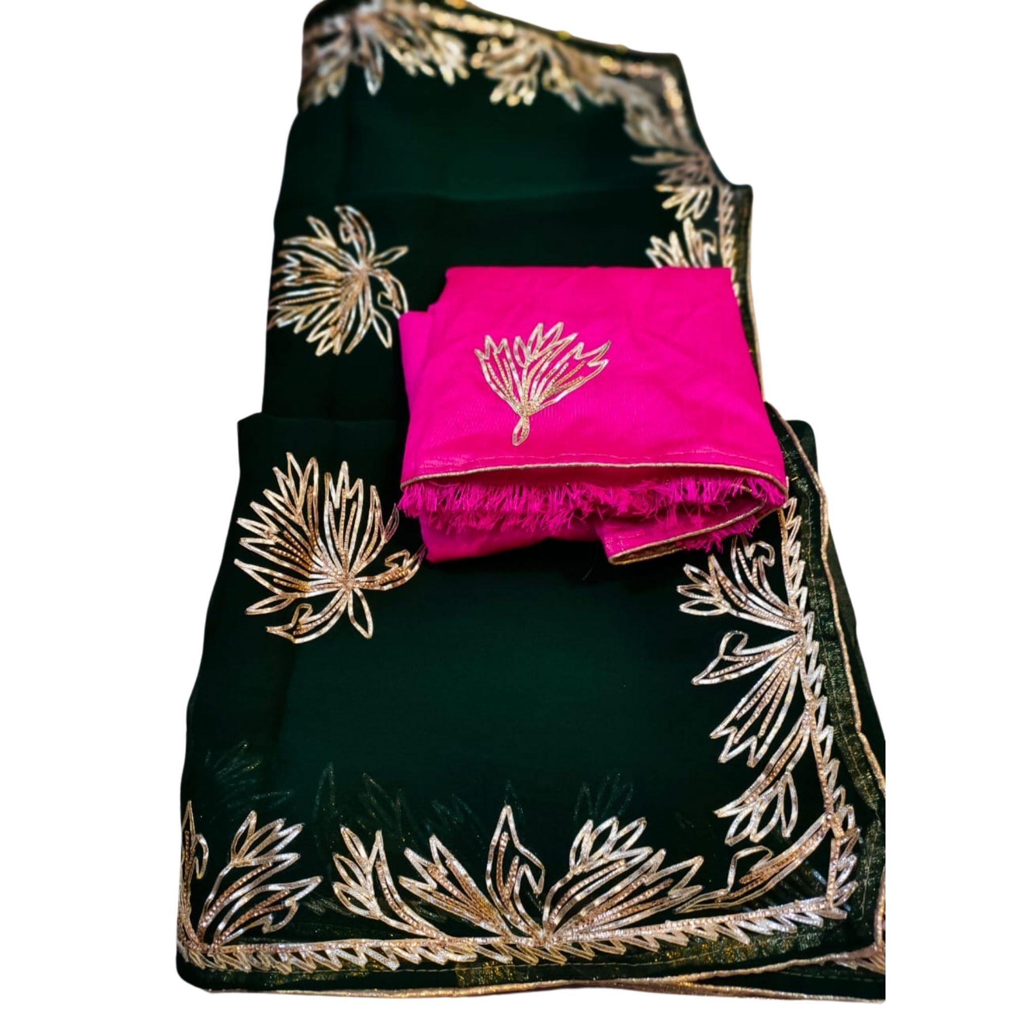 Light Kacchi Gota Patti Border Work Saree - Olive Green Rani
