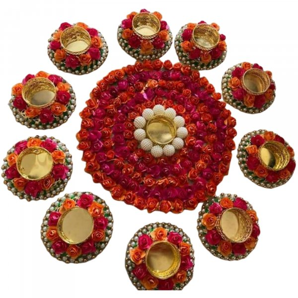 FLORAL DIYA RANGOLI - RANI ORANGE