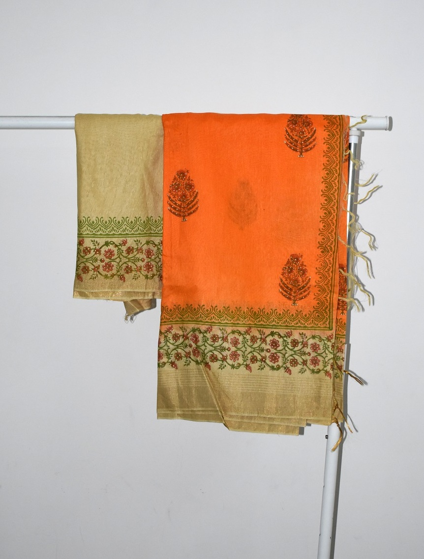 HAND BLOCK PRINT SAREES- ORANGE BEIGE