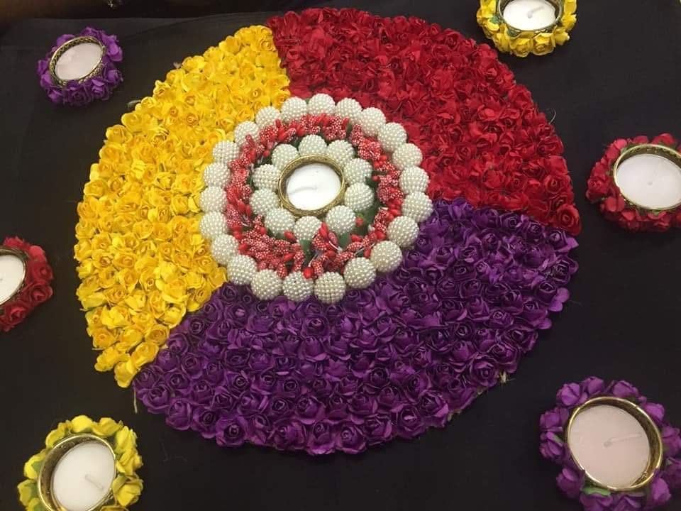 FLORAL DIYA RANGOLI - PURPLE YELLOW RED