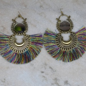 Threaded Dangle with Mirror Earrings