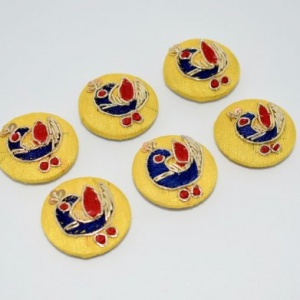 Decorated Fabric Buttons - Yellow Peacocks