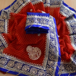 HEAVY GOTA PATTI SAREES- RED BLUE