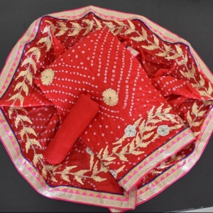 CHARKHI GOTA WORK SUIT- RED