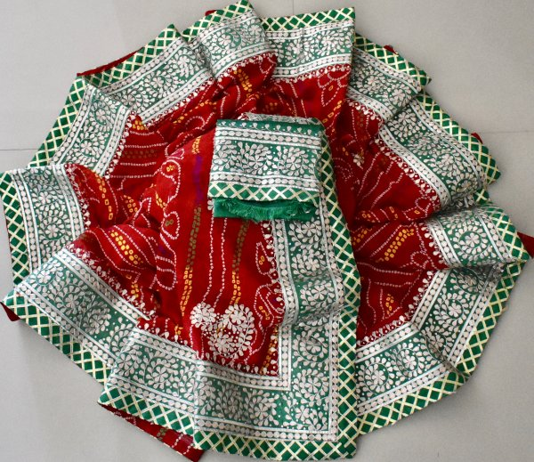 HEAVY GOTA PATTI SAREES- RED GREEN