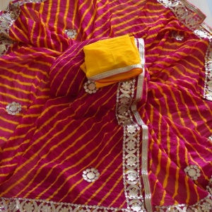 GOTA PATTI WORK LEHERIYA SAREES