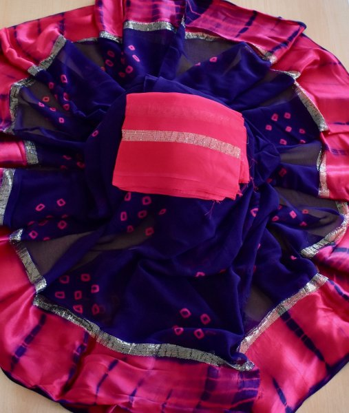 HAND BANDHANI SAREE- PURPLE RANI
