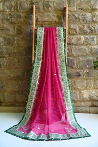 HEAVY GOTA PATTI SAREES- RANI GREEN