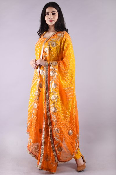 Charkhi Gota Work Suit- Yellow