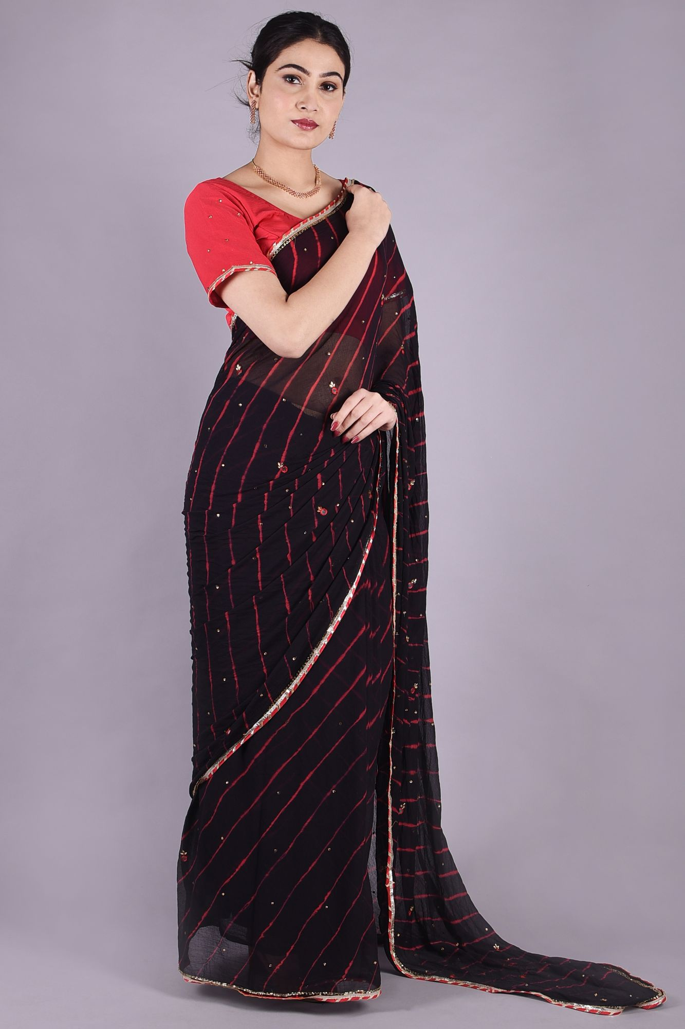 KUNDAN WORK LEHERIYA SAREES WITH LACE- BLACK RED