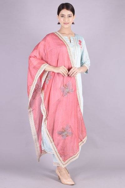 GOTA THREAD WORK KURTA LOWER SET- SKY BLUE PEACH