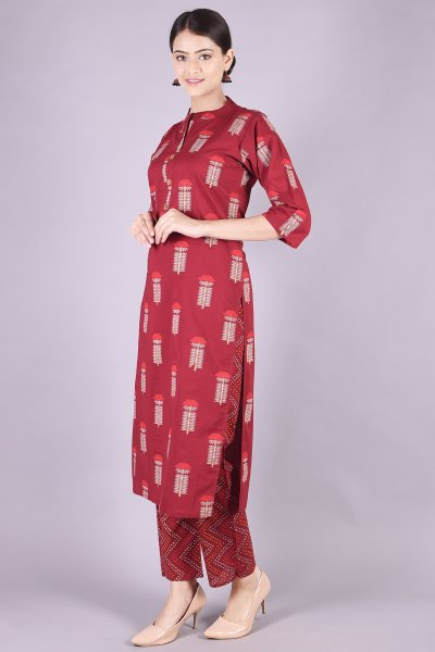 Block Print Kurta Lower Set-  Mehroon