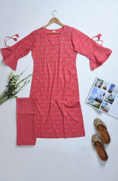 PINK WORK KURTA LOWER SET