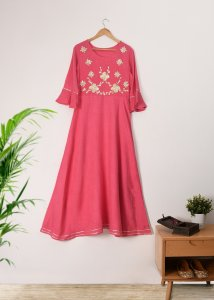 PINK GOTA PATTI FROCK DRESS KURTA