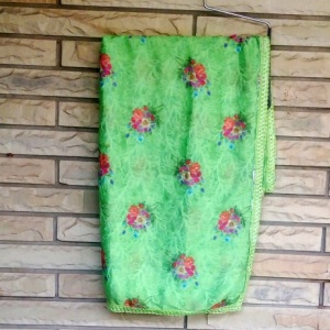 SELF PRINT GREEN THREAD WORK DUPATTA