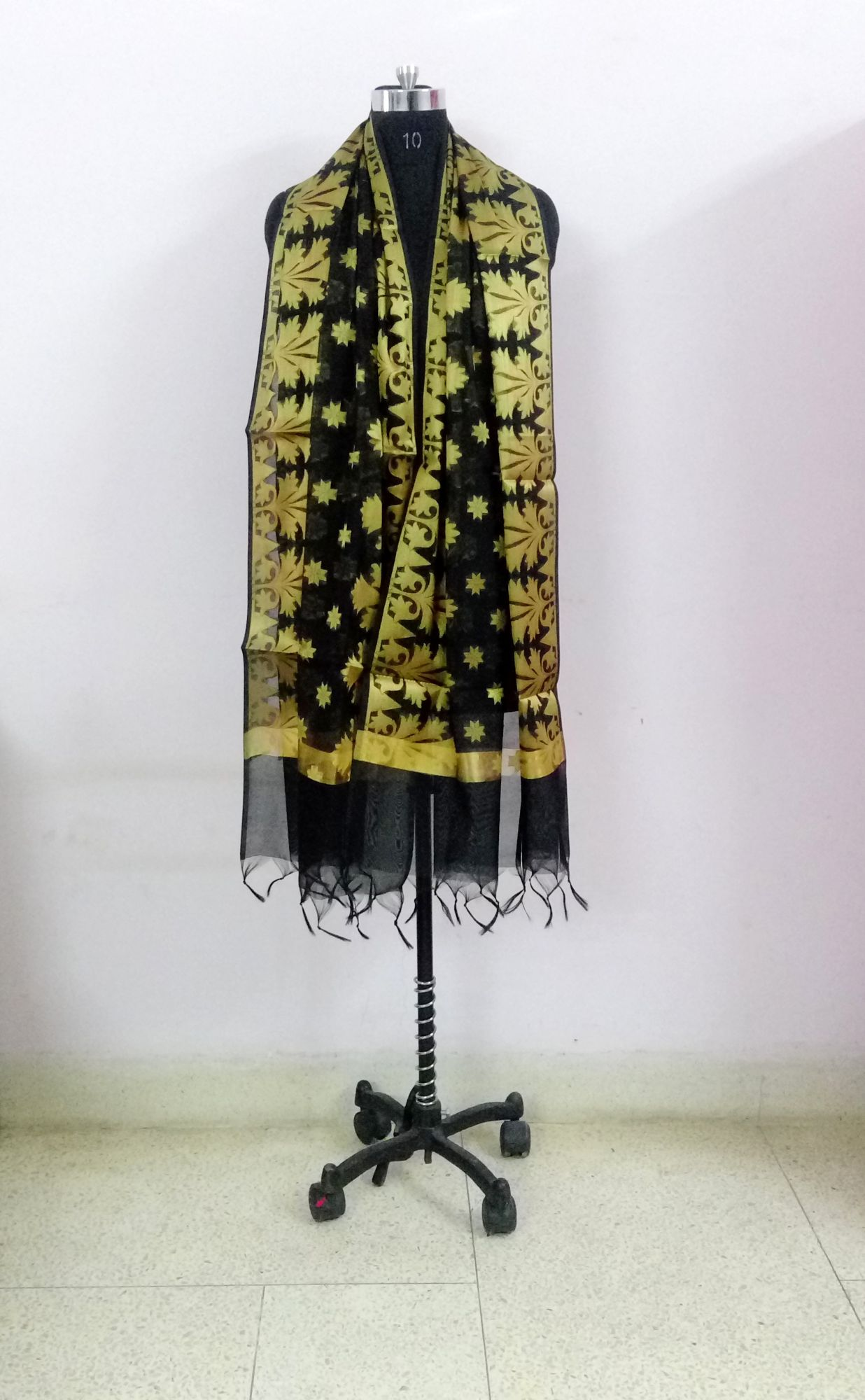 HANDWOVEN BANARASI ON CHANDERI-  BLACK