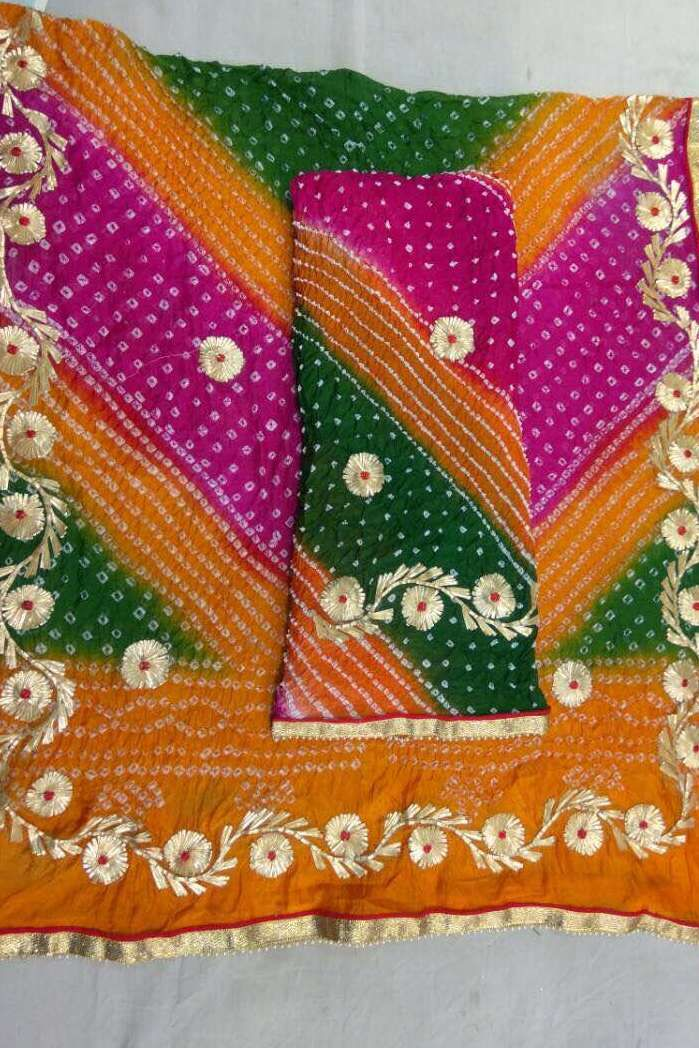 Charkhi Gota Work Suit- Green Pink Orange