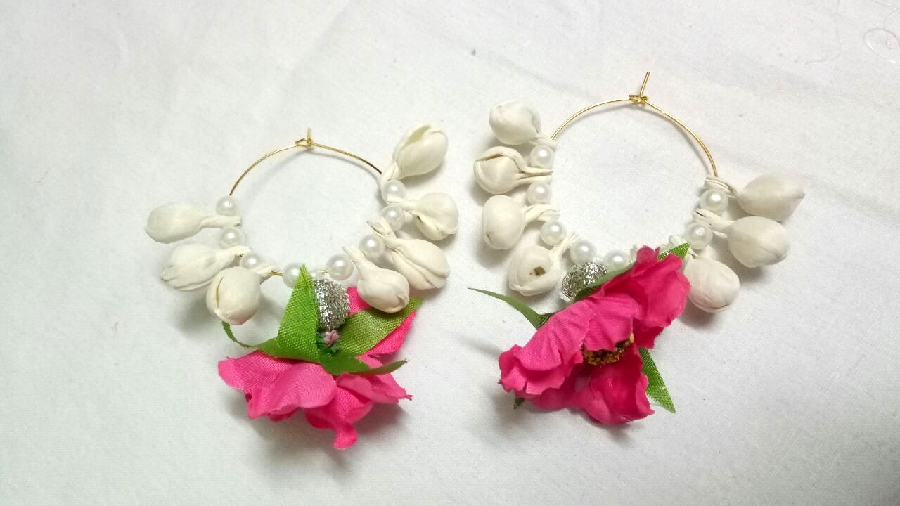 Floral Gotapatti earrings
