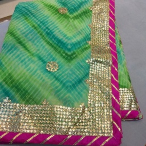 HEAVY GOTA PATTI SAREES- GREEN RANI