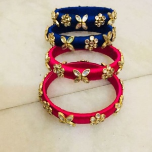 KUNDAN WORK THREAD BANGLES