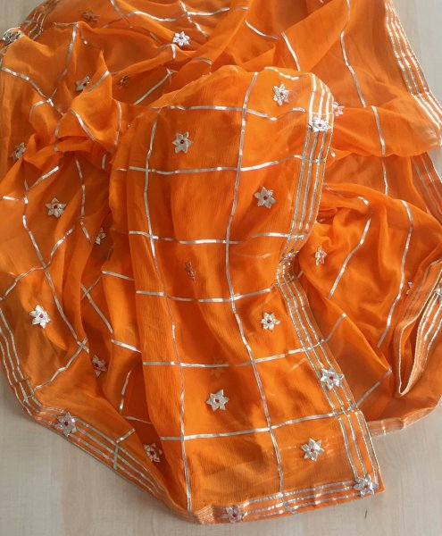 Nazmeen floral collection - GOTA PATTI HAND WORK ORANGE
