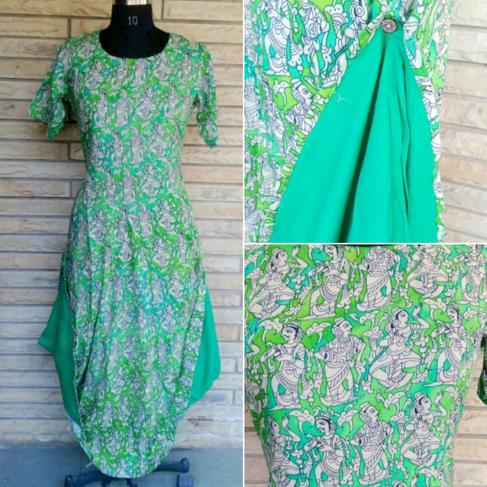 Tribal print green- FROCK