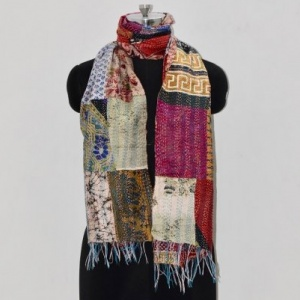 KATHA PATCH WORK STOLE- MULTICOLORED