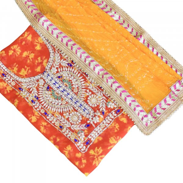 KURTA DUPATTA SET- ORANGE YELLOW